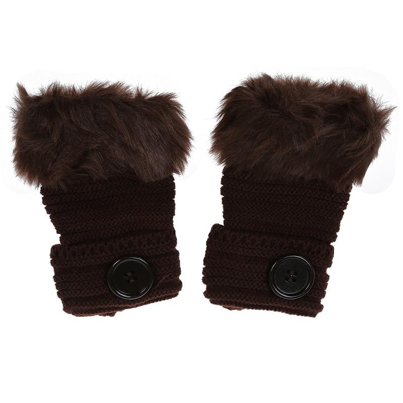NEW-Women Winter Fashion Faux Rabbit Fur Girl Warm Wrist Fingerless Gloves Mittens Coffee