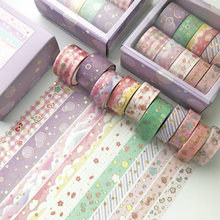 10 pcs/set Black Gold Washi Tape Vintage Galaxy Masking Tape Cute Decorative Adhesive Tape Sticker Scrapbooking Diary HandCraft