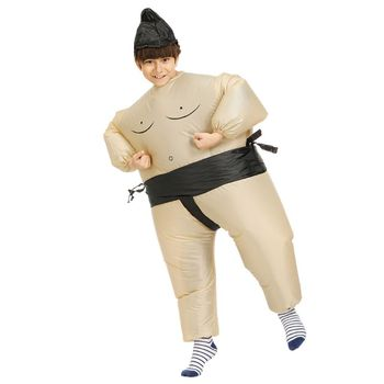 Sumo Wrestler Costume Inflatable Suit Blow Up Outfit Cosplay Party Dress for Kid and Adult R7RB