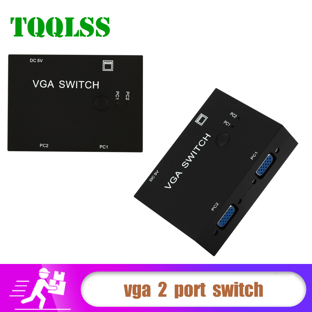 Vga 2 Port Switch Box Vga 2 In 1 Out Switcher For Consoles Set-top Boxes Notebooks Projectors Computers 2 Hosts Share 1 Display