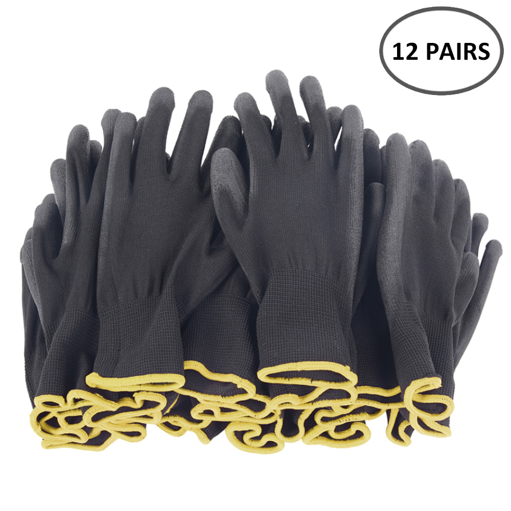 12 Pairs PU Nitrile Safety Coating Work Gloves Palm Coated Gloves For Universal Horticulture Mechanic Working Gloves
