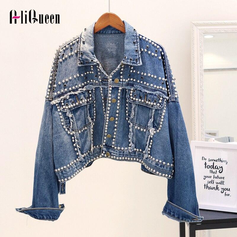 Women Cool Rivet Punk Denim Jacket Casual Short Loose Tassel Jean Jackets Coats Streetwear Outerwear Chaqueta Mujer Plus Size