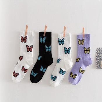 4 Styles Middle Tube Socks Foot Sports Cotton Women Butterfly Fashion Streetwear Breathable Cartoon 2020 New