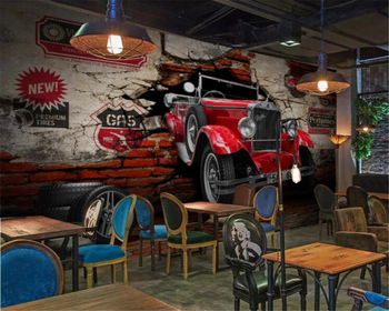 beibehang Custom wallpaper 3D stereo retro car broken wall restaurant hotel background home decoration tooling 3d