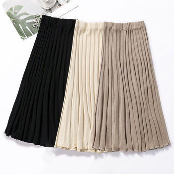 HLBCBG Vertical Striped knitted Women Sweater Skirt Elastic Band Pleated Midi Skirts Chic High Waist A-line Skirts Female striped line doormat