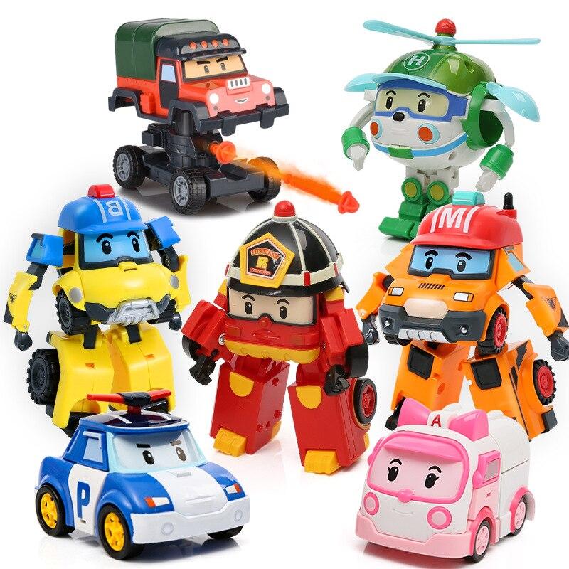 4 piezas/6 piezas Robocar Corea Robot niños juguetes transformación Anime acción figura Super alas Poli juguetes para niños playmobil Juguetes