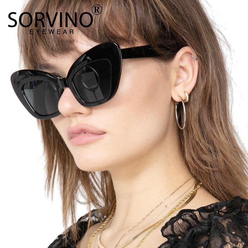 SORVINO Ретро 90s большие Черепаховые кошачий глаз солнцезащитные очки 2018 женские дизайнерские негабаритные Бабочки Солнцезащитные очки большие оттенки SN175