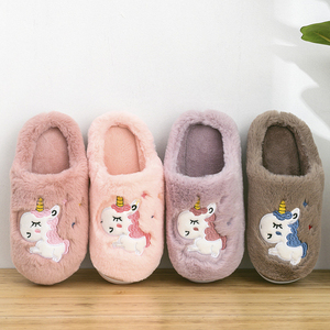Winter Unicorn Slippers Kids Toddler Girl Flip Flop Baby Boys Fur Slides Cotton Indoor Shoes Warm Fluffy House Children Slipper(China)