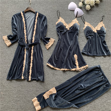 Autumn 4 Pieces Sets Women Pajamas Set Gown Robe Lace Sleepwear Velvet Nightwear Pyjama Strap