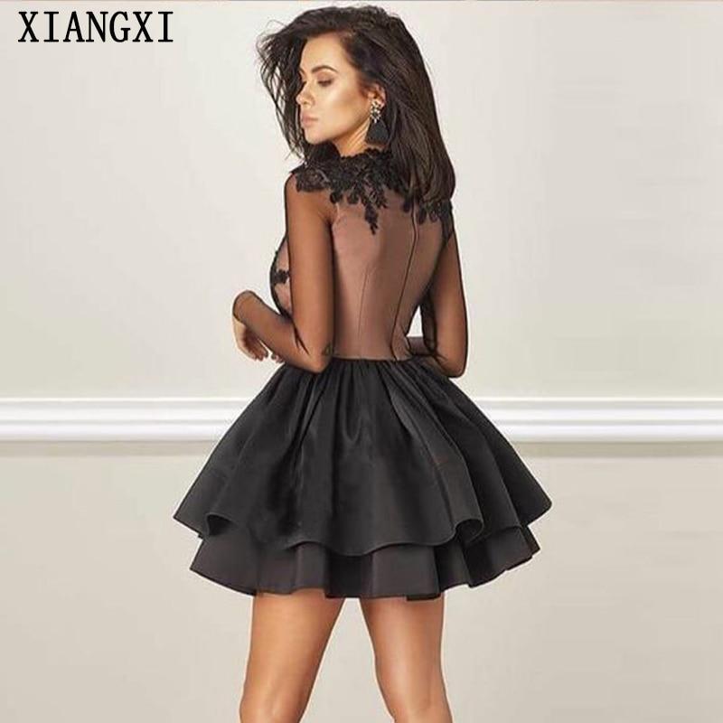 Vestido-2019-Black-Homecoming-Dresses-High-Collar-Full-Sleeves-Lace-Short-Mini-Party-Dress-Homecoming-Dress