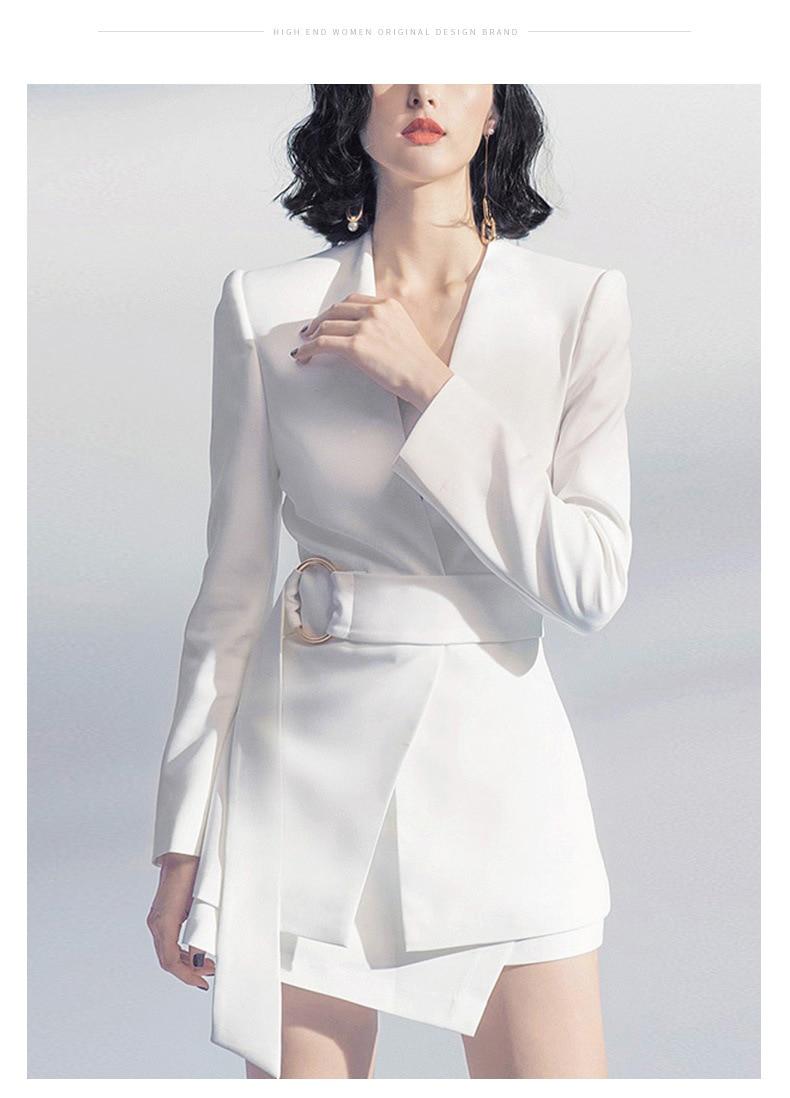 Женский костюм осень новая мода Темперамент Талия белая куртка стандартная юбка костюм Дикий Женский костюм из двух частей