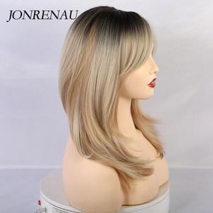 Image 3 - Jonrenau合成ロングバングダークルートオンブル髪かつら自然の波の高品質かつらホワイト/黒女性