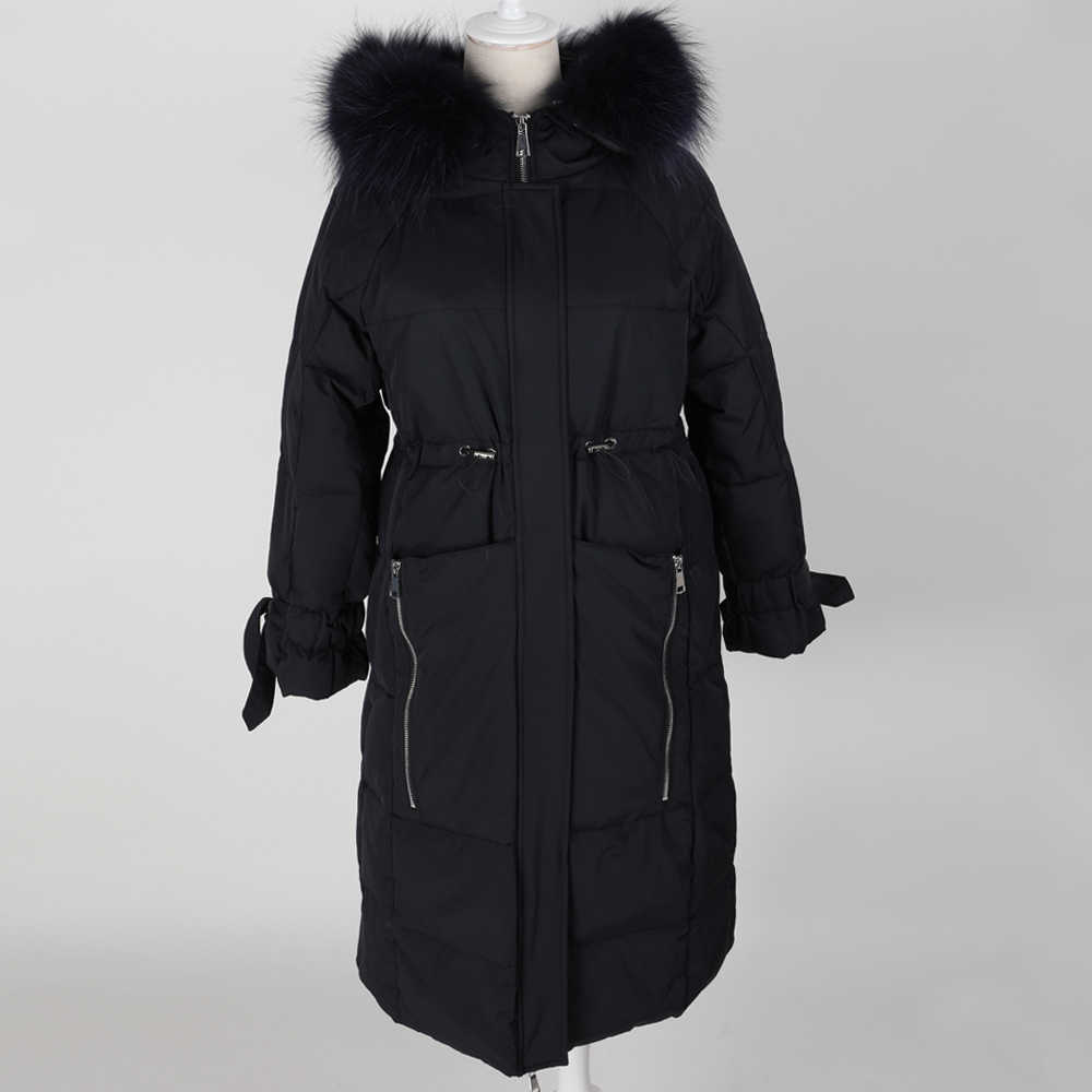 Maomoakong2019 winterjas Natuurlijke wasbeer bont grote kraag Witte eendendons vrouwen donsjack Park jas leren jas