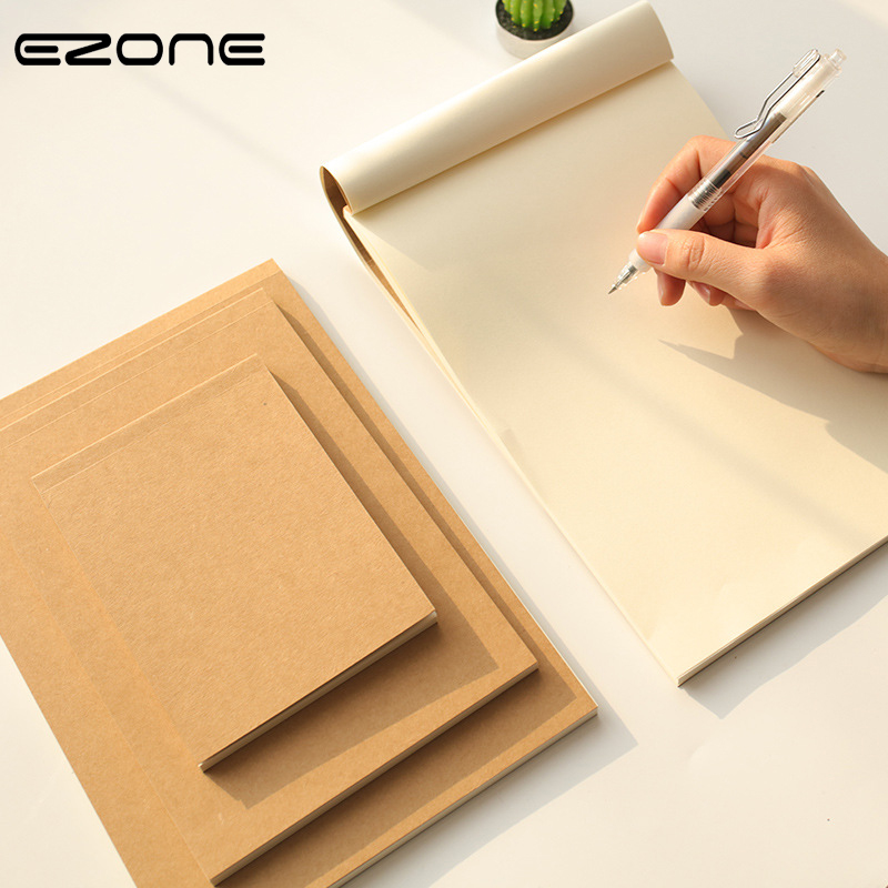 EZONE Blank Page Notebook Kraft Paper Notebook Sketchbook 18/32/64K Blank Inner Page 60 Sheets Notebook Office School Stationery