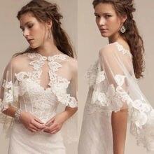 Wedding Cape Lace Hem Bridal Jackets Elegant Shawl White Ivory Shrugs For Bride
