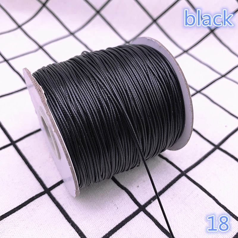 Waxed Cord Rope-Bead Necklace Shamballa-Bracelet Jewelry-Making DIY Black for Strap