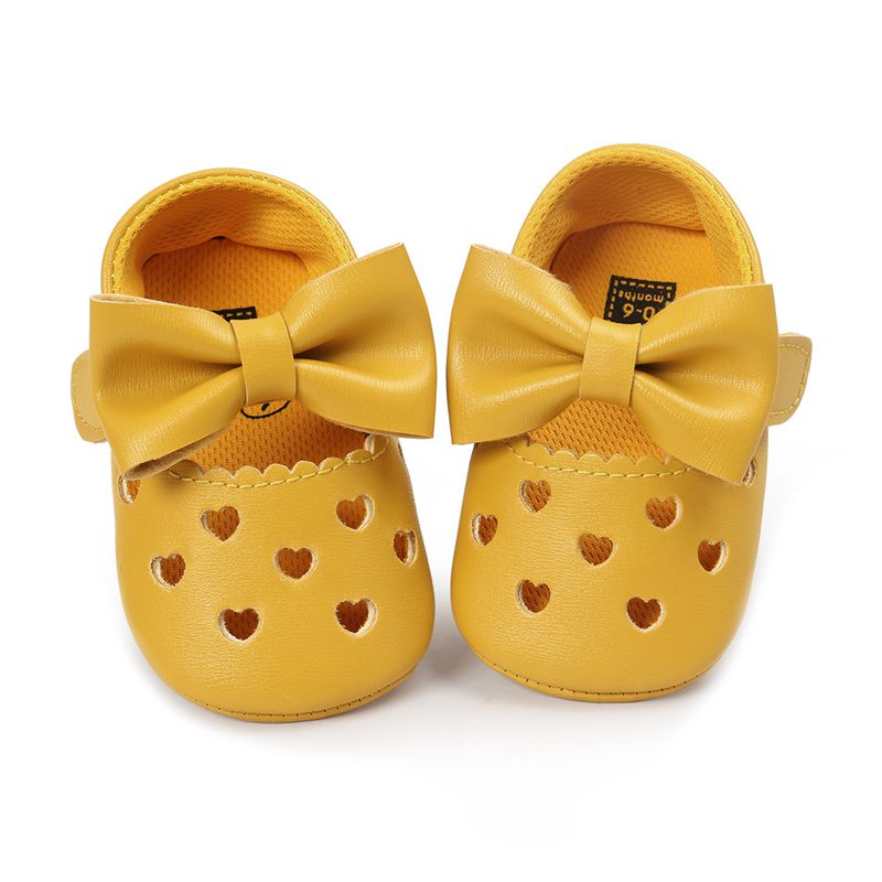 Leather Newborn Baby Girls Princess Heart-Shaped Soft Bottom Shoes Dark Yellow 12-18m