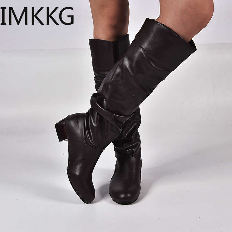 2019 moda ayakkabılar kadın Diz-yüksek Çizmeler Kış Diz Yüksek Çizmeler Yüksek Tüp Düz Topuklu binici çizmeleri Dış beyaz ayakkabı Y10297