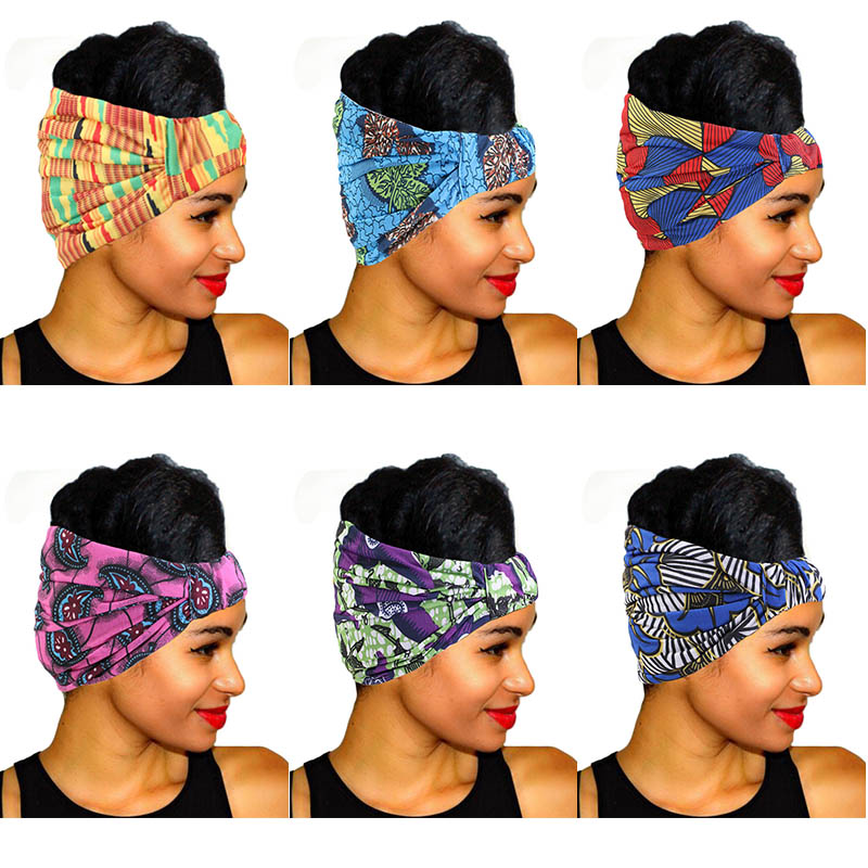 African Print Stretch Cotton Headband For Women Elastic Headwear Turban Head Scarf Ladies Bandage Head Wrap Hair Accessories