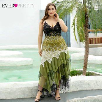 Plus Size Cocktail Dresses Ever Pretty Asymmetrical Spaghetti Straps V-Neck Sequined Lace Party Gowns Robe Femme 2020 - discount item  25% OFF Special Occasion Dresses