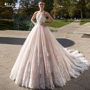 Image 1 - Adoly מיי רומנטי הלטר צוואר ללא משענת אונליין חתונת שמלת 2020 יוקרה חרוזים Sashes אפליקציות משפט רכבת Vintage כלה שמלה