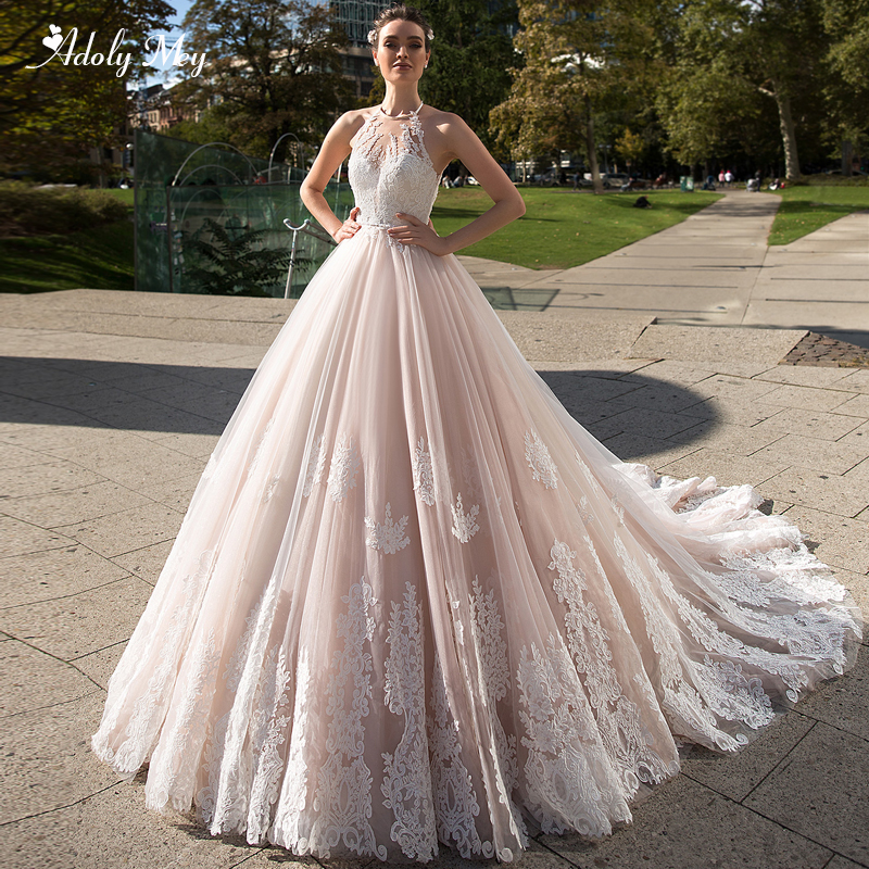 Adoly Mey Romantic Halter Neck Backless A-Line Wedding Dress 2020 Luxury Beaded Sashes Appliques Court Train Vintage Bridal Gown