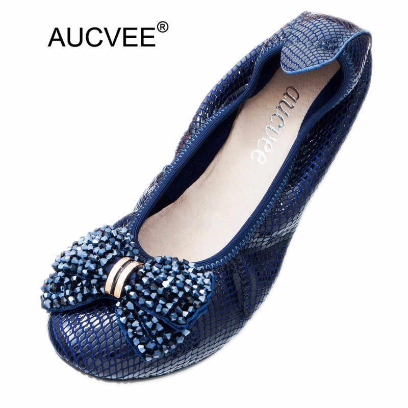 Plus ขนาด 43 สตรี Ballet Flats รองเท้า Snake Embossed หนังลูกปัดโบว์รองเท้าส้นสูง Lady Ballet Flats รองเท้า Loafers
