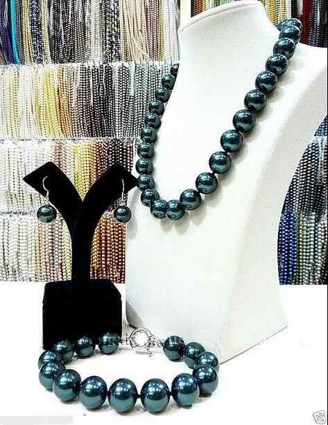 Kostenloser Versand>> Big 14mm Südsee Schwarz Shell Perle Perlen Halskette armband Ohrringe Set AAA