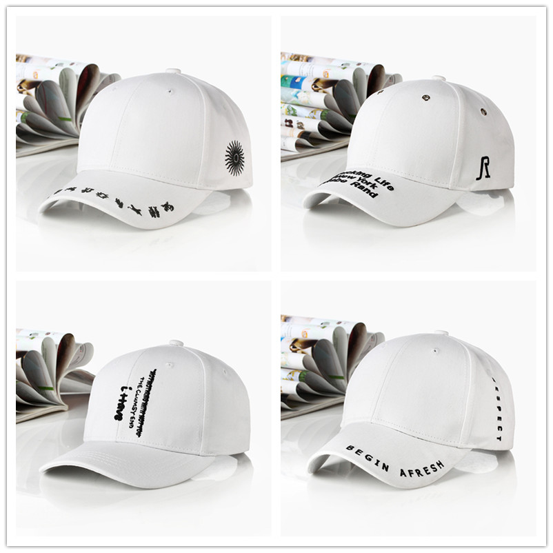 New Fashion Letter Embroidery Black White Cap Cotton Snapback Hats For Men Women Hip Hop Fitted Baseball Caps