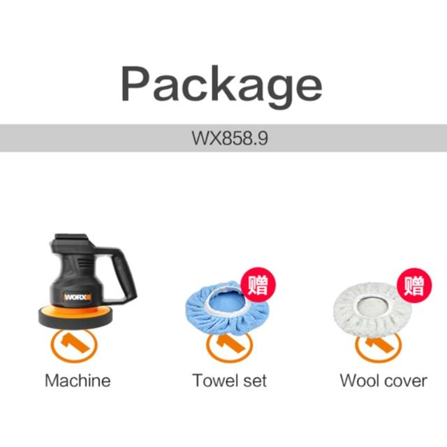 Worx 20V Electric Car Polisher Machine WX858.9 Variable Speed Auto Polishing Machine 3800rpm 178mm Car Polisher Waxing Tools 6