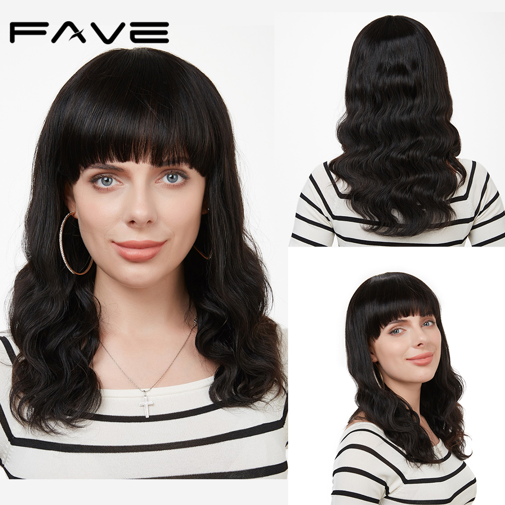 FAVE Body Wave With Free Bangs Wig Brazilian Human Hair Wigs Natural Black 12-18 Inches Free Shipping Lovely Remy Hair Style