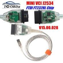 Mini vci v15.00.028 mais recente versão ftdi ft232rl chip de alto desempenho obd saej2534 para toyota/lexus MINI-VCI tis techstream