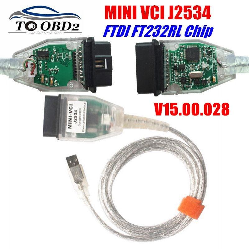MINI VCI V15 00 028 Latest Version FTDI FT232RL Chip High Performance OBD SAEJ2534 For Toyota Lexus MINI-VCI TIS Techstream