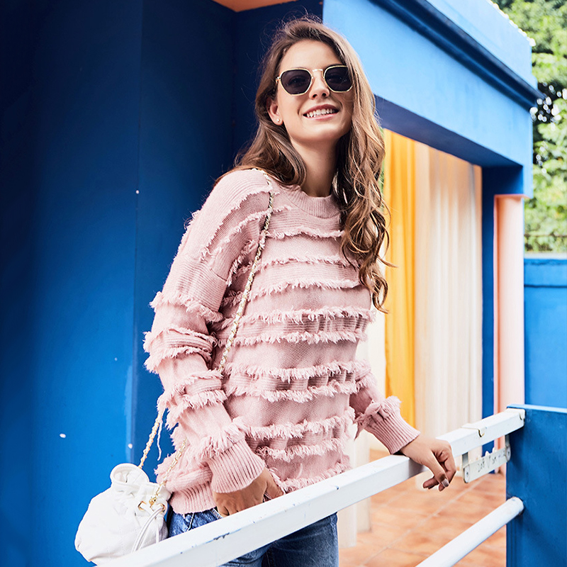 EVERAFTER Pink cascading fringed knitted women sweater O neck long sleeve pullover jumper chic knitwear winter elegant top 2019 in Pullovers from Women 39 s Clothing