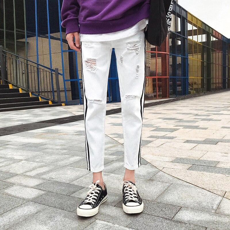Stripes Jeans Boy's Korean-style Slim Fit Skinny Pants Versatile With Holes Hong Kong Style Capri Pants Trend BF Men's Trousers
