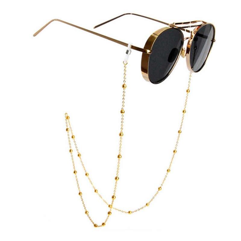 1PC or Long argent lunettes chaîne lunettes chaînes Chic mode lunettes cordon titulaire perlé lunettes de soleil lecture femmes