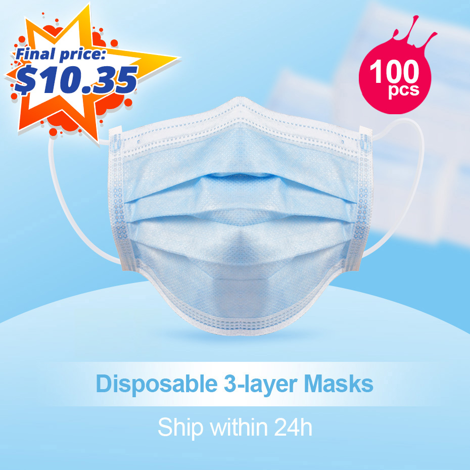 20/40/60/80/100 Pcs Face Masks Anti-bacteria Mouth-muffle Mouth Masks Earloop-Mask Non Woven Disposable Masks Protection Against
