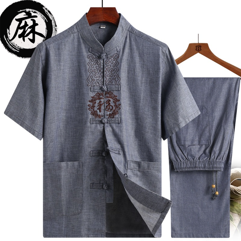High Quality Chinese Tang Suit Streetwear Linen Short-sleeved Suit Men's Two-piece Shirt Slim Casual Chinese Traditional Cloth