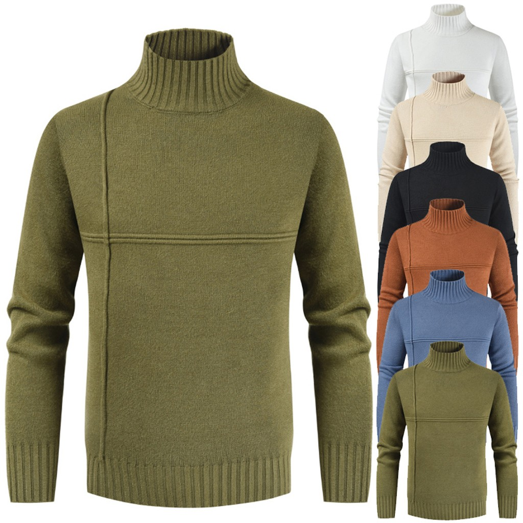 Men's Autumn Winter Casual Pure Color Turtleneck Long Sleeve Knitted Sweater Top High Quality Warmt Slim Pullover Male Sweaters