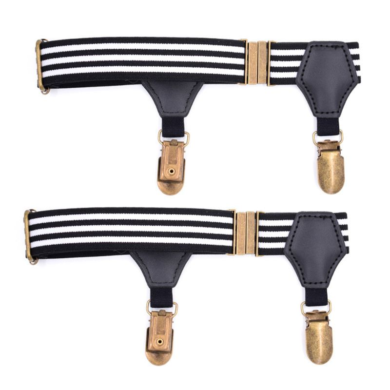 THINKTHENDO 1Pair Elastic Mens Sock Remains Leg Suspenders Garter Clip Buckle Non-slip Clamp