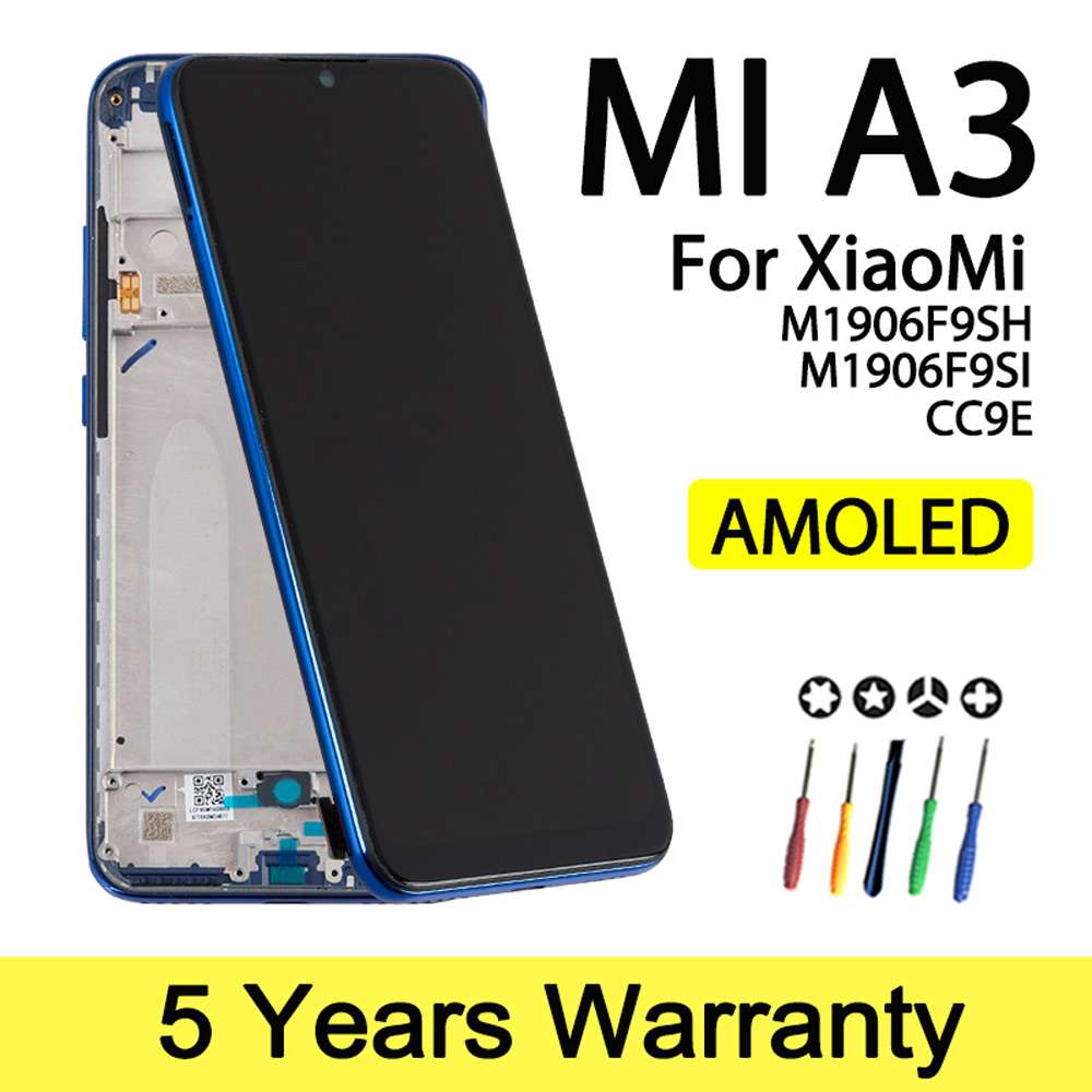 Factory Super AMOLED Display For Xiaomi Mi A3 LCD Touch Screen Digitizer Assembly With Frame Lcd For Xiaomi Mi CC9E Display