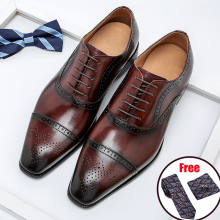 Phenkang Men Genuine Wingtip Leather Oxford Shoes Pointed Toe Lace-Up Oxfords Dress Brogues Wedding Business Derby Shoes