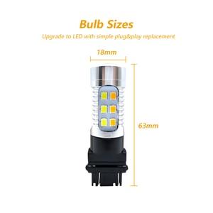 Image 2 - Bombilla LED de doble Color ámbar/blanco para coche, luz de freno, señal de giro de estacionamiento automático, Bombilla trasera T25 12v 24v, 2x3157 3757