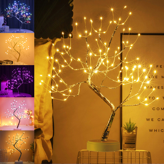 LED Tabletop Bonsai Tree Light Touch Switch DIY Artificial Light Tree Lamp Decoration Festival Holiday Battery/USB Operated D30 2