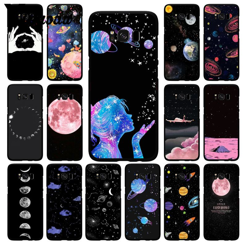 Yinuoda black <font><b>white</b></font> moon stars space Cloud Girl Travel Plane PhoneCase for <font><b>Samsung</b></font> S20 S10Plus S10E S6 <font><b>S7</b></font> S8 S9 Plus S10lite image