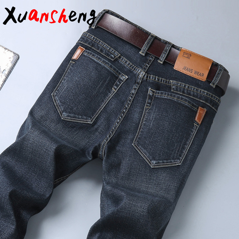 Brand Jeans Men 2020 Slim Classic Style Autumn Winter Business Casual Blue Black Elastic Straight Long Pants High Quality Jeans