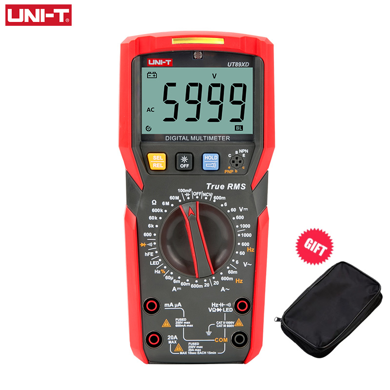 Цифровой мультиметр UNI-T UT89X UT89XD, профессиональный вольтметр True RMS, Бесконтактный индикатор напряжения и сопротивления, 20 А, с ЖК дисплеем