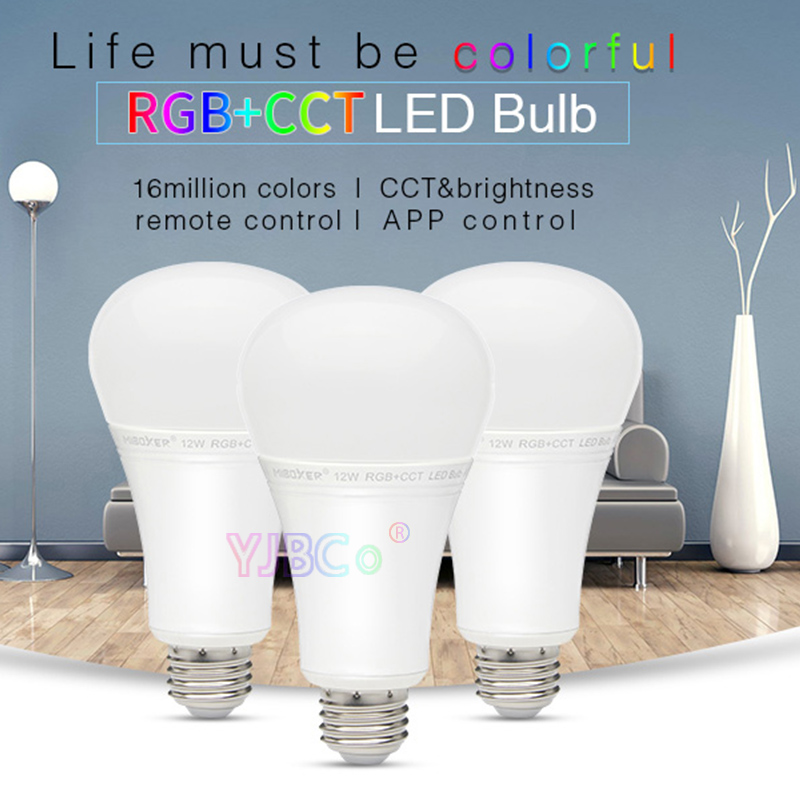 Miboxer FUT105 12W RGB+CCT LED Bulb E27 Indoor lamp light 2.4G remote smartphone APP Control for Bedroom living room AC100~240V
