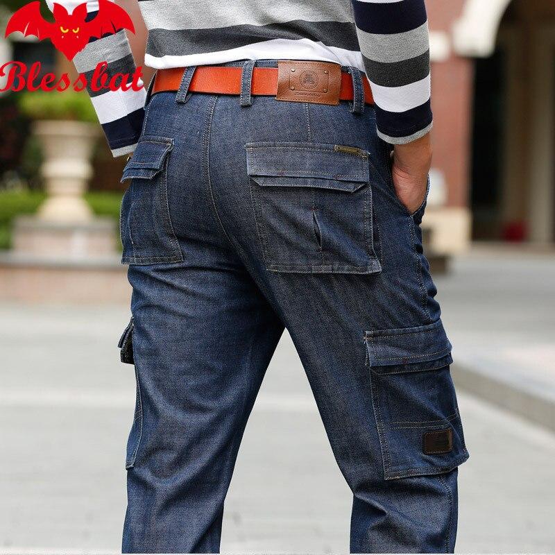 Blessbat New Tooling Jeans Multi-bag Straight Tube Large Size Loose Men's Clothing