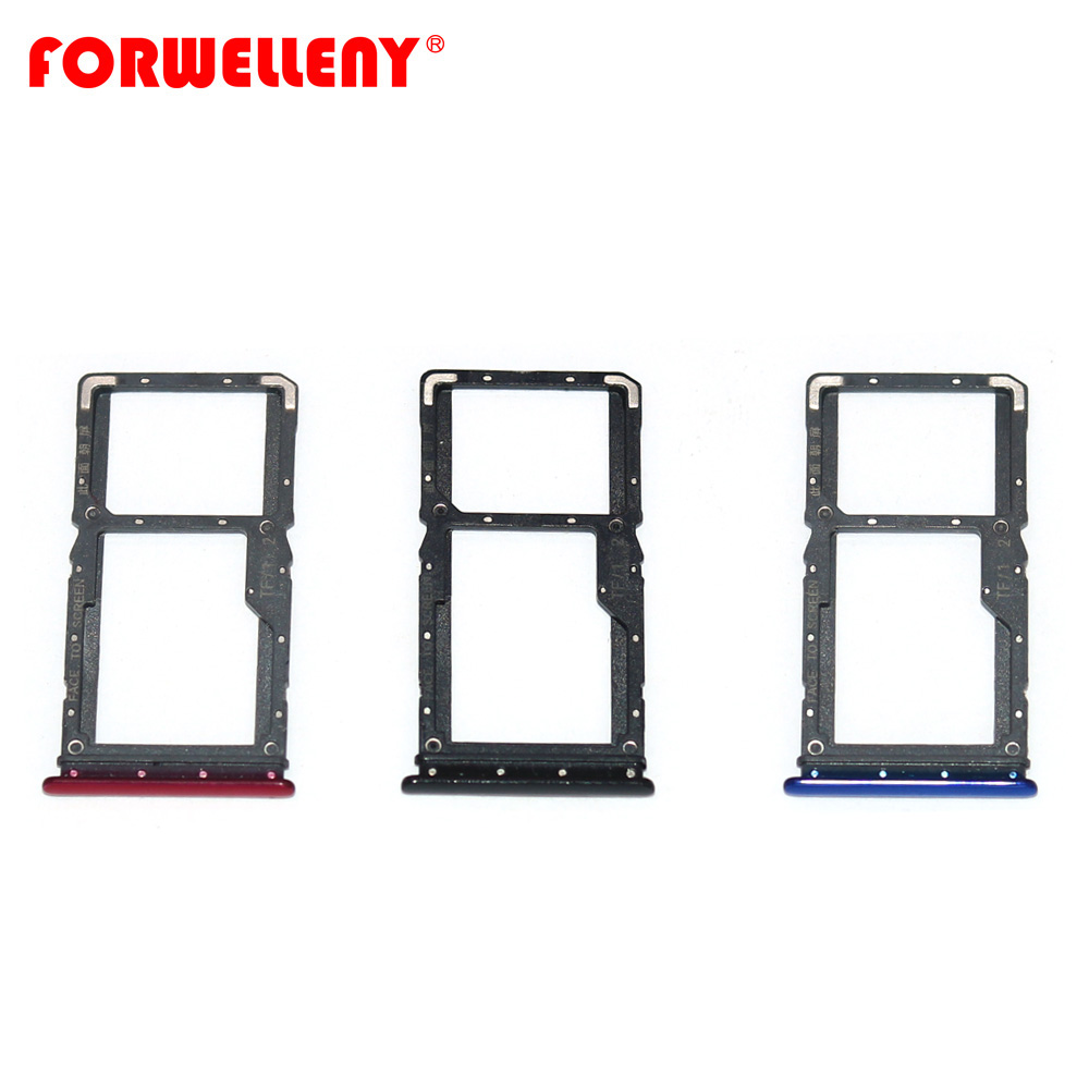 For Xiaomi Xiomi Redmi Note 7 Note7  Micro Sim Card Holder Slot Tray Replacement Adapters Black Blue Red